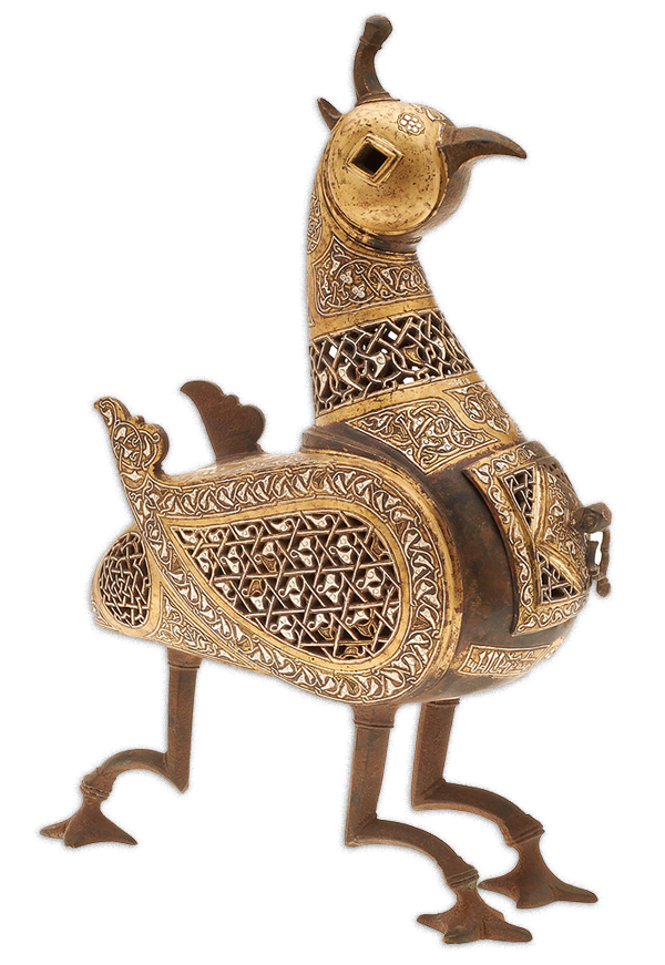 Mhythical Bird Incense Burner, BC- 6.192, Bronze with Silver Inlays, Herat (Afghanistan), 2nd half 12th C.